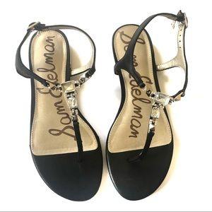 Sam Edelman Black & Gold Dawn T-Strap Sandal